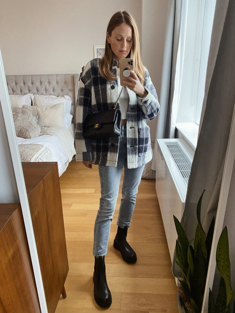 madewell plaid jacket, chunky Chelsea boots