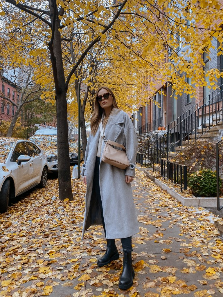 Oversized mango grey coat, chunky black Chelsea boots, Celine sunglasses, fall
